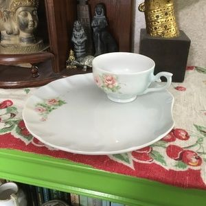 VTG Hand Painted China Snack Plate and Cup